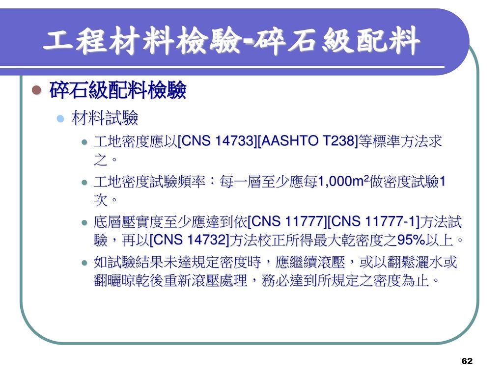 工程材料檢驗-碎石級配料 碎石級配料檢驗 材料試驗 工地密度應以[CNS 14733][AASHTO T238]等標準方法求之。